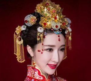 Bridal costume headwear set classical Chinese makeup hairpin wedding show Wo clothing dragon and phoenix step by step with jewelry wholesale