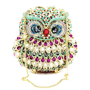 Wholesale bag owl style for sale - Group buy Owl Shape Crystal Evening Bag Hollow Out Clutch Purse Party Bag Customized Women Rhinestone Clutches Evening Bags Clutch Crystal Bag Ladies