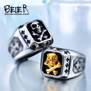 Cool Men Stainless Pirate Part Plated-Gold Skull Titanium Steel Boy's Punk Vintage Fashion Ring Jewelry Gift on Sale
