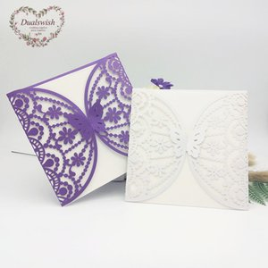 Wholesale 10pcs Butterfly And Flower Laser Cut Invitations Cards with Blank Inner Page for Wedding Bridal Shower Birthday Party Supplie