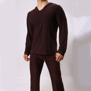 Wholesale Man Pajama Ice Silk V-Neck T-Shirt & Drawstring Pants A Set Loose Comfortable Home-wear Man Casual Clothing Pajama