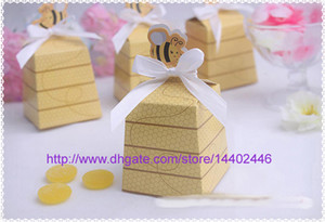 Wholesale 1000pcs Baby Shower Gift Favor Boxes Sweet as Can Bee Yellow Candy Box For Wedding Party Beehive Favor