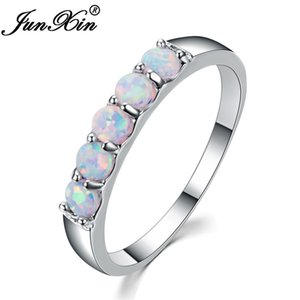 Wholesale JUNXIN Top Quality Sterling Silver Filled Best Wedding Bands Jewelry Unique Round White Fire Opal Rings For Women Lover Gift