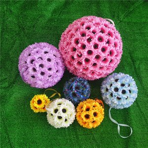 Wholesale 7.48 inches   (19cm) Wedding Artificial Silk Sunflower Kissing Ball Flower Pomander Bouquet Ball Home Decorative Balls