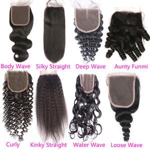 130% Density Deep Wave Brazilian Virgin Top Lace Closure Cheap Water Body Wavy Kinky Straight Loose Curly Brazilian Human Hair Closure Piece