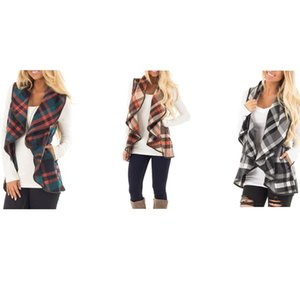 Wholesale Plaid Printed Cardigan Waistcoat Turn Down Neck Open Front Jacket Autumn Winter Sleeveless Vest Shirt For Lady zy C