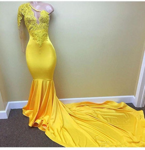 Sexy Yellow One shoulder Long Sleeve Black Girls Prom Dresses 2018 Appliques Lace Evening Dress Elastic Satin Mermaid African Party Gowns on Sale