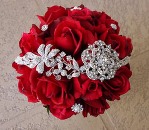 ingrosso rose di gioielli-Seta Spilla Red Wedding Bouquet Natural Touch Rose e Fiore Spilla Gioiello Bride Bouquet Strass accessorio di nozze