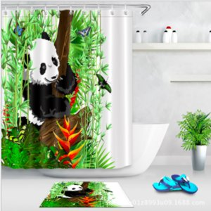 Wholesale Panda Bamboo Shower Curtain and Mat Set Chinese Painting Art Waterproof Fabric Bathroom Curtain For Bathroom Products