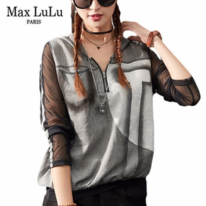 Wholesale Patchwork Max Spring Luxury Punk Girls Sexy Crop Tops Tee Shirt Womens Lace T shirts Zipper Hooded Woman V Neck Tshirt Oversized