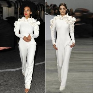 Wholesale 2018 New White Jumpsuit Evening Dresses Long Sleeves High Neck with Flowers Formal Party Prom Dress Custom Made Evening Gowns