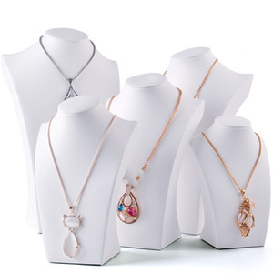 Wholesale White Faux Leather Necklace Bust Tall Jewelry Chain Display Stand Neck Form for Boutique Shop Window Shelf Exhibition Counter Top Displays