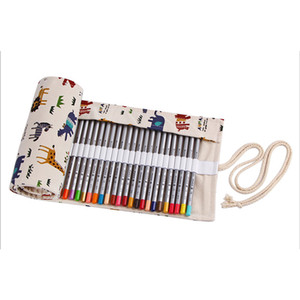 OLike Cute Animals Canvas Handmade Pencil Case Bags 36 48 72 Holes Roll Pouch Makeup Cosmetic Brush Pen Storage Box Bag School