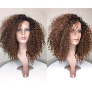 Wholesale Glueless Ombre Lace Front Wig Brazilian Virgin Human Hair BT30 Fashion kinky curly Full Lace Human Hair Wigs with Baby Hair