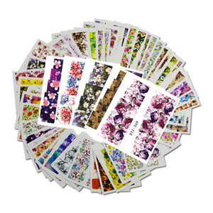 Wholesale 48pcs Mixed Designs Flower Nail Art Full Wraps Nail Foils Nail Sticker Decals Water Transfer Manicure Tips STZ352