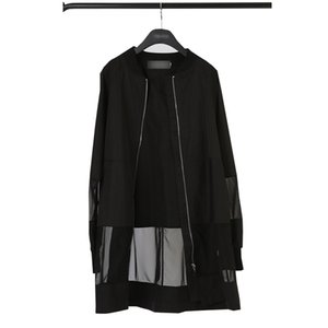Wholesale Spring Hem Mesh Patch women jacket coat See Through black bomb Jacket Zipper Outwear Feminino Long windbreaker Quick dry tops