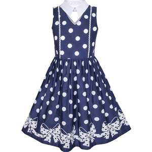 Wholesale Sunny Fashion Girls Dress Blue White Polka Dot Bow Tie Collar School Uniform Cotton Summer Princess Wedding Party Size