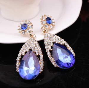 Wholesale 3 Colors Mix order Fashion Drop New Girls Earing Blue Zircon Stud Earrings For Women Wedding Jewelry Droplets Earings One Direction