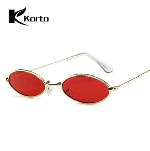 90s Oval Sunglasses Small Round For Women Rihanna Fashion Tinted Red Men Glasses Ladies Vintage Eyeglasses Yellow Eyewear