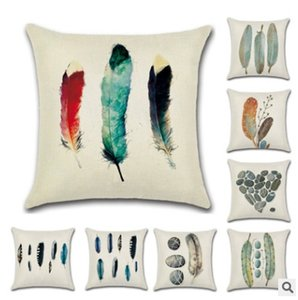 Wholesale 2018 new fashion linen stone feather printed pillows sofa waist pillow cushion pillow case for living room bedroom decor pillow cover