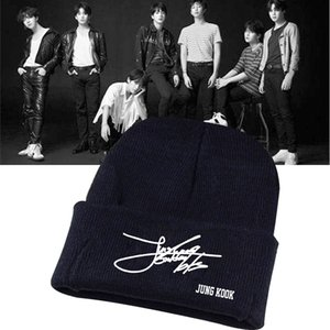 2018 New Kpop fashion BTS member signature JIMIN JIN JUNGKOOK Wool cap adjustable black cotton hat winter Beanies