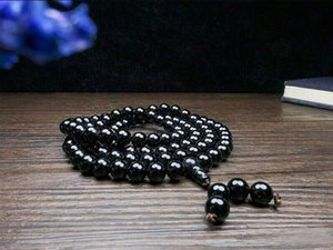 Wholesale 8mm Natural black agate beads necklace with free shipping C1