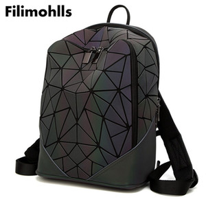 Wholesale Fashion Women backpack PVC geometric luminous backpack new Travel Bags for School Back Pack holographic backpacks F