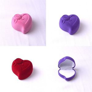 Wholesale Jewelry Box Heart Shaped Ornaments Packing High Grade Flocking Ring Ear Nail Earrings Wedding Storage msa V