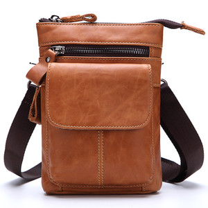 Wholesale Small bags Genuine Leather Waist Bags Men Casual Waist Pack Mini Messenger Bag Cow Leather Crossbody bag