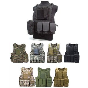 Wholesale USMC Tactical Molle Combat Assault Plate Carrier Vest Hunting Vest CS Outdoor Equipment Army Camouflage Black