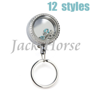 Wholesale New arrival mm can open locket retractable reel key chain red white black badge reel stainless steel key chain