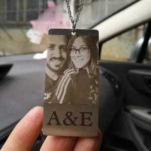 Wholesale Custom photo pendant rearview mirror ornament door happiness gift car decoration jewelry Stainless steel pendant