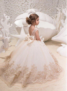 228d25be9762 2019 Cute Tulle A Line Flower Girl's Dresses Lace Applique Ruched Bow Sash  Low Back Floor