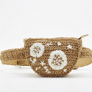 Wholesale Women Handmade Round Rattan Woven Shoulder Bag Bohemia Straw Knitted Bag Summer Beach Crossbody bags Pouch Belt Waist Pack E22