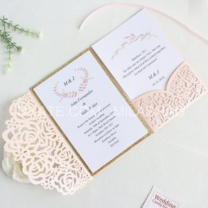Rose Romantic Wedding Invitation Nude Pink Spring Glittery Laser Cut Pocket Invite Free Customized Printing Shipping