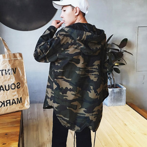 Wholesale 2018 Men s camouflage HIP HOP style hooded windbreaker fashion Trend casual Army Clothing Coat Military Tactical JACKETS XL