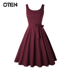 Wholesale OTEN Plus size XL Clothing Women Summer Sleeveless O Neck Bow Sexy Backless Rockabilly Pin up Skater Swing Casual Party dress