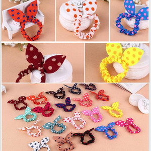 Wholesale 100Pcs Children women Hair Band Cute Polka Dot Bow Rabbit Ears Headband Girl Ring Scrunchy Kids Ponytail Holder Hair Accessories
