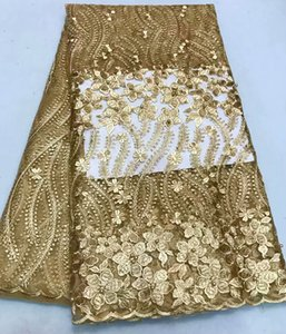 Wholesale hot selling African lace fabric embroidery golden color lace fabric Nigeria lace for wedding dress