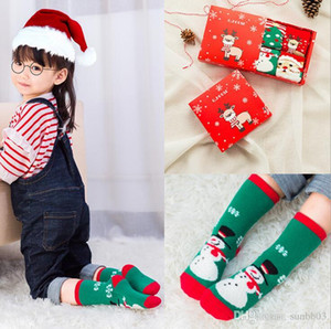 Wholesale New Christmas Socks For Baby Kids Boys Girls Ankle Socks Autumn Winter Baby Socks Children Foot Warm Sock pairs Gift Box