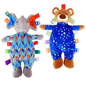 Wholesale Colorful tag animal Dolls Elephant bear Stuffed plush toys baby sleeping Appease Toys Baby ringing bells dolls pillow