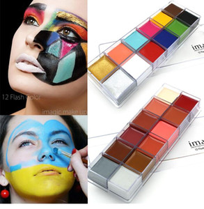 IMAGIC 12 Colors Flash Tattoo Face Body Paint Oil Painting Art Halloween Party Fancy Dress Beauty Makeup Tools on Sale