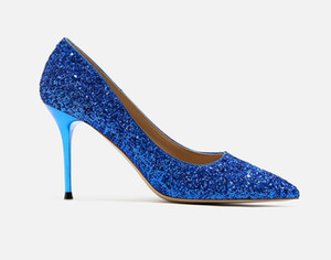 Ladies high heels colourful multiple colour shining dancing pumps women dress shoes glaring glitter high-heeled footwear for Ladies