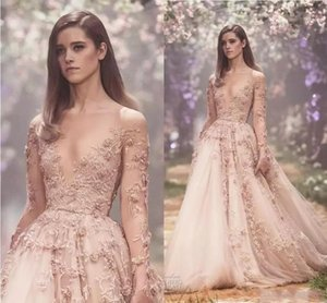 Wholesale Paolo Sebastian Blush D Floral Long Sleeve Evening Dresses Lace Applique Princess Puffy Skirt Country Garden Prom Gowns