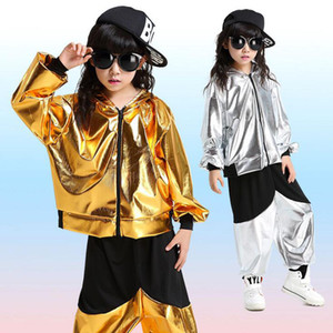 Wholesale Girls Boys Gold Sliver Ballroom Jazz Hip Hop Dance Competition Costumes Hoodie Shirt Tops Pants for Kid Dancing Suit Wear Outfit