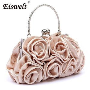 Wholesale EISWELT New Satin Hot Fashion Floral Ladies Day Clutch Bag Women Evening Party Prom Bridal Diamante Baguette White Summer