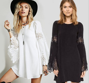 Wholesale Fashion Chiffon Lace Top A stype Long Sleeve Dress Plus Size Shirt Pure Color Long Bow Sleeve Shirt S XL XRCS30