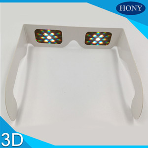 Wholesale DHL D Gift Disposable d Paper cardboard light gratings diffraction fireworks glasses bulk for party