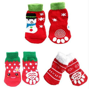 zapatillas de pata al por mayor-4 unids Navidad Red Snowflake Pet Dog Puppy Cat Shoes zapatillas con la pata imprime interior Pet Dog Soft antideslizante Knit calcetines calientes zapatos