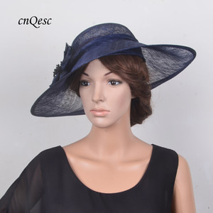Wholesale blue kentucky derby fascinator hats for sale - Group buy Navy blue Large Sinamay Hat Saucer Fascinator for Kentucky derby church